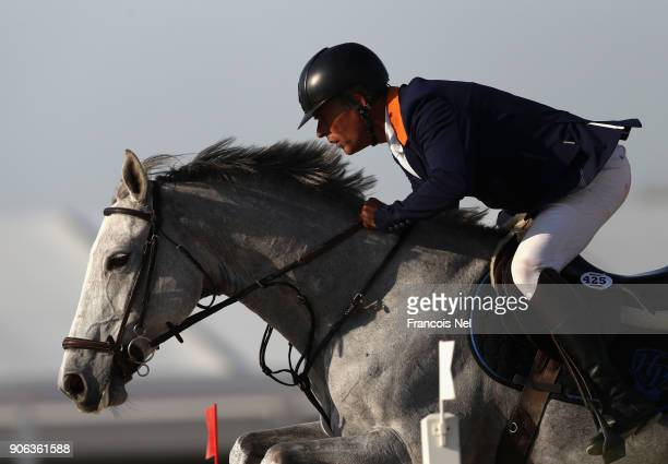 Henk Van De Pol of the Netherlands rides Dilithyia VLS during the Dubai Show Jumping Championships on January 18 2018 in Dubai United Arab Emirates