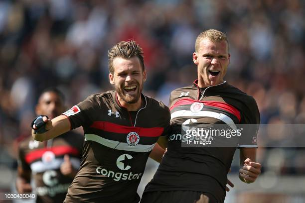 Henk Veerman of FC St Pauli celebrates after scoring his team`s first goal during the Second Bundesliga match between FC St Pauli and 1 FC Koeln on...