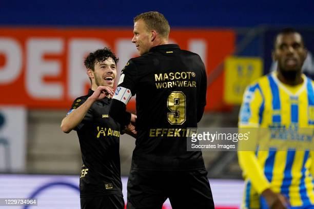 Henk Veerman of SC Heerenveen celebrates 0-1 with Mitchell van Bergen of SC Heerenveen during the Dutch Eredivisie match between RKC Waalwijk v SC...