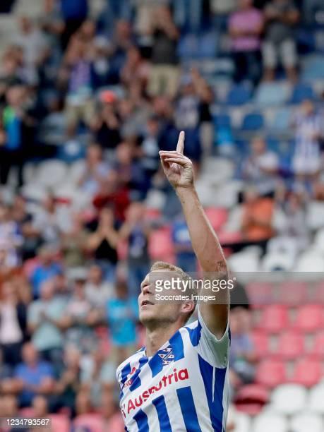 Henk Veerman of SC Heerenveen celebrates 1-0 during the Dutch Eredivisie match between SC Heerenveen v RKC Waalwijk at the Abe Lenstra Stadium on...
