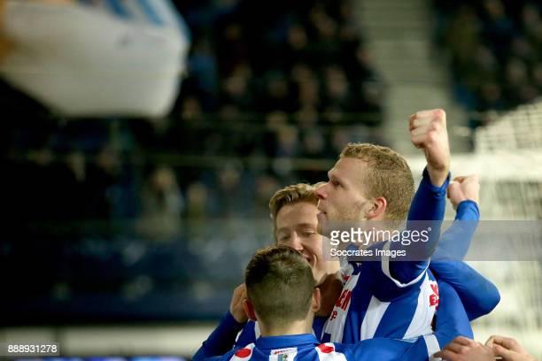 Henk Veerman of SC Heerenveen celebrates 2-1 with Nemanja Mihajlovic of SC Heerenveen, Michel Vlap of SC Heerenveen during the Dutch Eredivisie match...