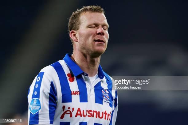 Henk Veerman of SC Heerenveen disappointed during the Dutch Eredivisie match between SC Heerenveen v RKC Waalwijk at the Abe Lenstra Stadium on...