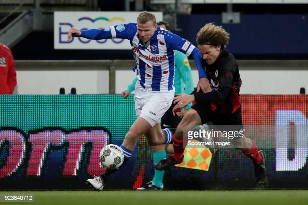Henk Veerman of SC Heerenveen Wout Faes of Excelsior during the Dutch Eredivisie match between SC Heerenveen v Excelsior at the Abe Lenstra Stadium...