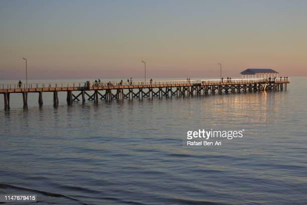 henley beach pier in adelaide south australia - rafael ben ari stock-fotos und bilder