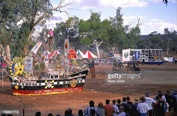 Henley on Todd regatta, boat battle on dry riverbed, Alice Springs, NT
