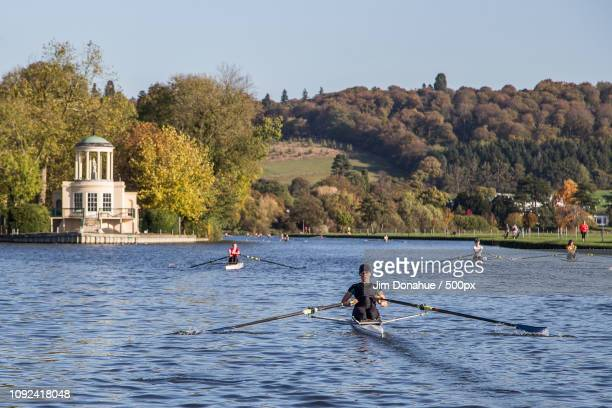 henley rowing club at temple island, henley - jim donahue stock pictures, royalty-free photos & images
