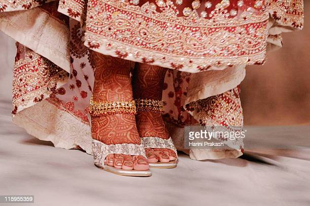 henna, anklets and bridal attire - anklet stock pictures, royalty-free photos & images