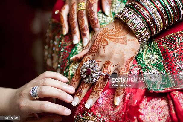 Henna artwork on bride's hand