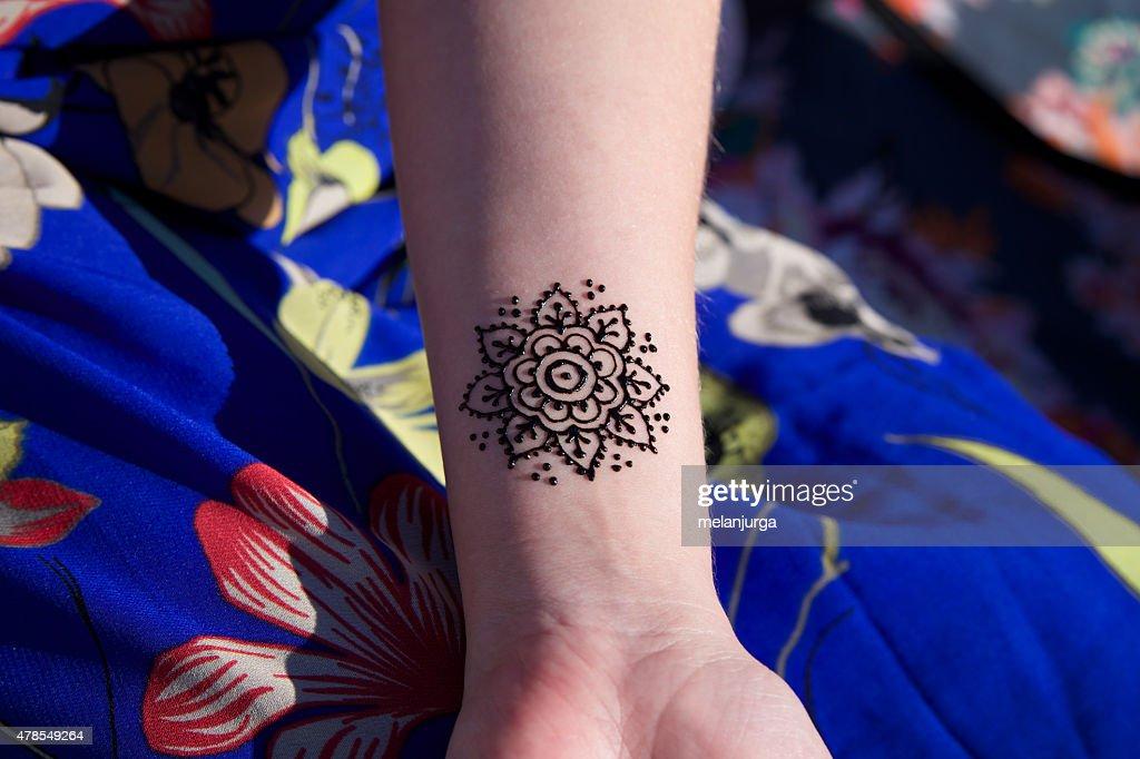 Henna Tattoo Mehendy On Hand Mandala Stock Photo Getty Images