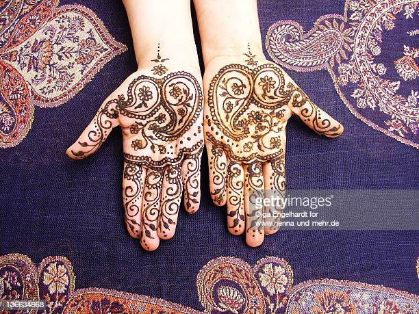 henna with indian paisley on two hands - cachemire motif photos et images de collection