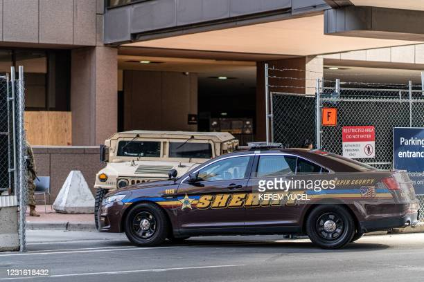 Hennepin County Sheriff vehicle enters the Hennepin County Government Center on March 9, 2021 in Minneapolis, Minnesota. - Jury selection finally got...
