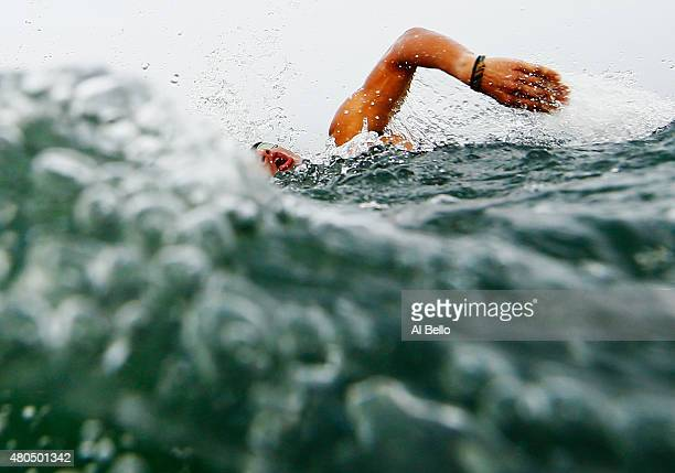 Hennert Mayorga of Nicaragua swims during the Men's Triathlon on July 12 2015 in Toronto Canada