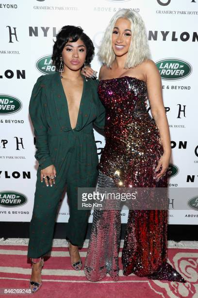 Hennessy Carolina and Cardi B attend NYLON's Rebel Fashion Party powered by Land Rover at Gramercy Terrace at Gramercy Park Hotel on September 12...