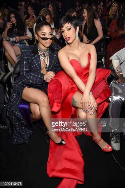 Hennessy Carolina and Cardi B attend the 2018 MTV Video Music Awards at Radio City Music Hall on August 20 2018 in New York City
