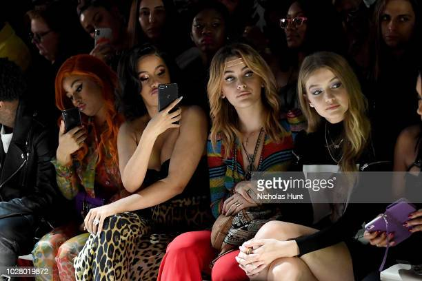 Hennessy Carolina Cardi B Paris Jackson and Gigi Hadid attend the Jeremy Scott front row during New York Fashion Week The Shows at Gallery I at...