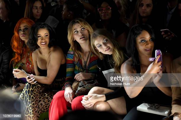 Hennessy Carolina Cardi B Paris Jackson Gigi Hadid and Tiffany Haddish attend the Jeremy Scott front row during New York Fashion Week The Shows at...