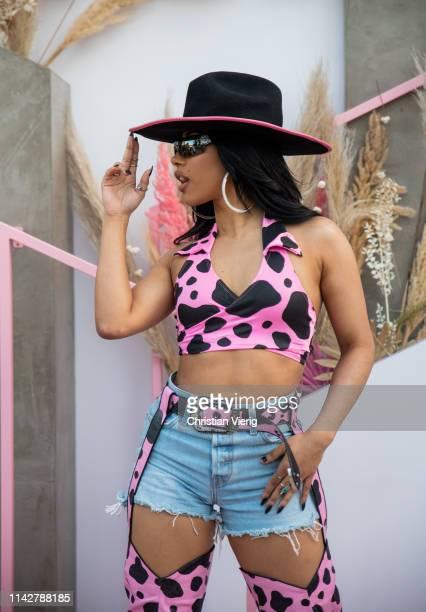 Hennessy Carolina is seen at Revolve Festival during Coachella Festival on April 14 2019 in La Quinta California