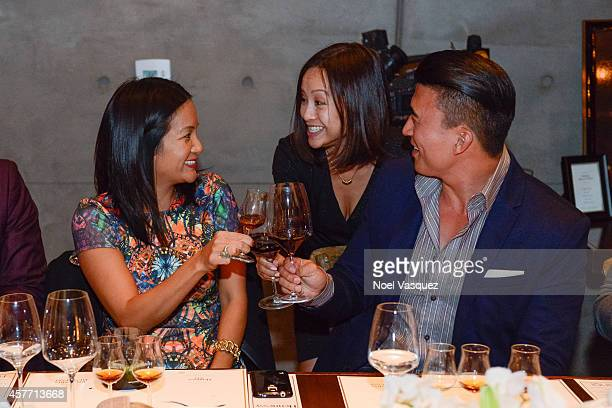 Hennessy West Coast Marketing Manager ThuyAnh J Nguyen Quyenzi Pham and Eddie Ha attend Maurice Hennessy private tasting and dinner at AnQi Gourmet...