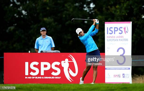 Henni Zuel of England hits her tee shot on the 3rd hole during the ISPS Handa Ladies British Masters at Buckinghamshire Golf Club on July 28 2013 in...