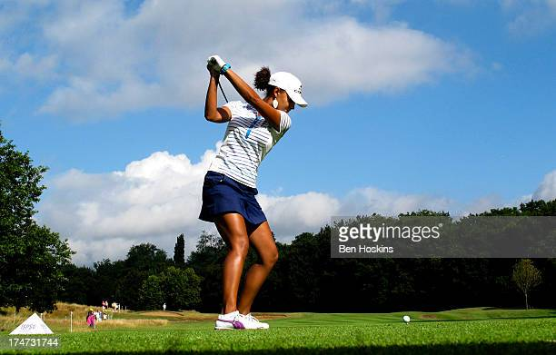 Henni Zuel of England hits her tee shot on the 4th hole during the ISPS Handa Ladies British Masters at Buckinghamshire Golf Club on July 28 2013 in...