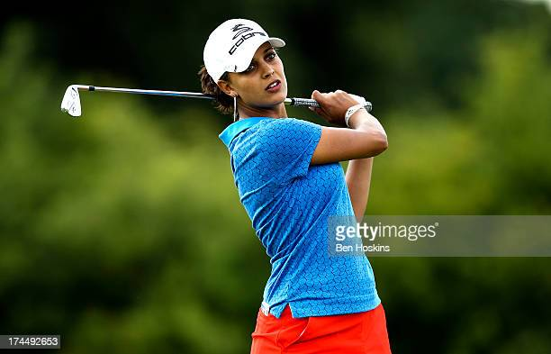 Henni Zuel of England hits her tee shot on the 6th hole during the ISPS Handa Ladies British Masters at The Buckinghamshire Golf Club on July 26 2013...