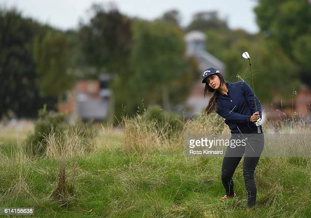 Henni Zuel of England plays a shot during the Hero ProAm at The Grove on October 12 2016 in Watford England