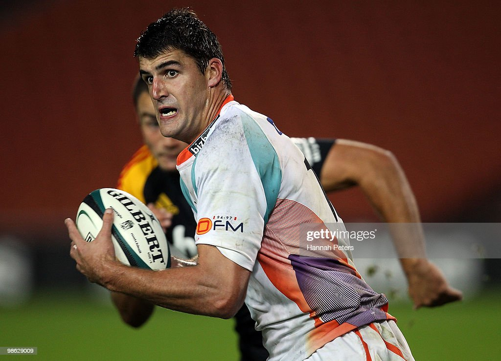 Hennie Daniller of the Cheetahs makes a break during the round 11 Super 14 match between the Chiefs and the Cheetahs at Waikato Stadium on April 23, 2010 in Hamilton, New Zealand.