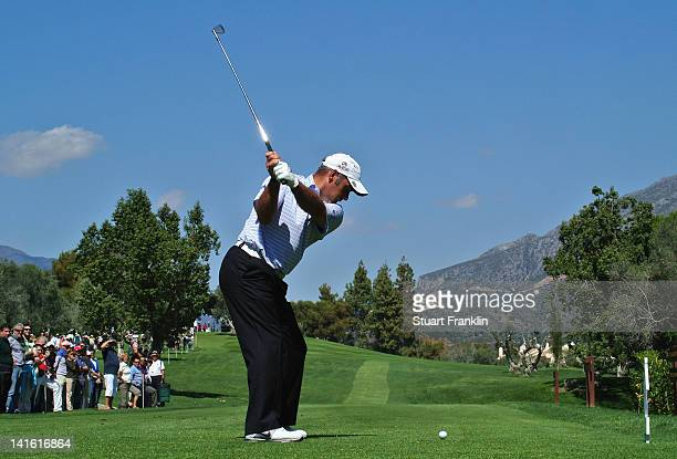 Hennie Otto of South Africa plays a shot during the final round of the Open de Andalucia Costa del Sol at Aloha golf club on March 18 2012 in...