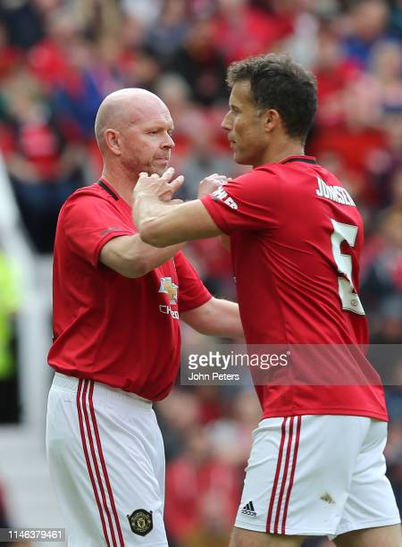 Henning Berg of Manchester United '99 Legends comes on for Ronny Johnsen of Manchester United '99 Legends during the 20 Years Treble Reunion match...