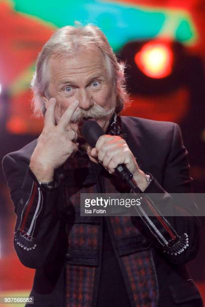 Henning Krautmacher, singer of the band Hoehner performs during the tv show 'Willkommen bei Carmen Nebel' on March 24, 2018 in Hof, Germany. The show...