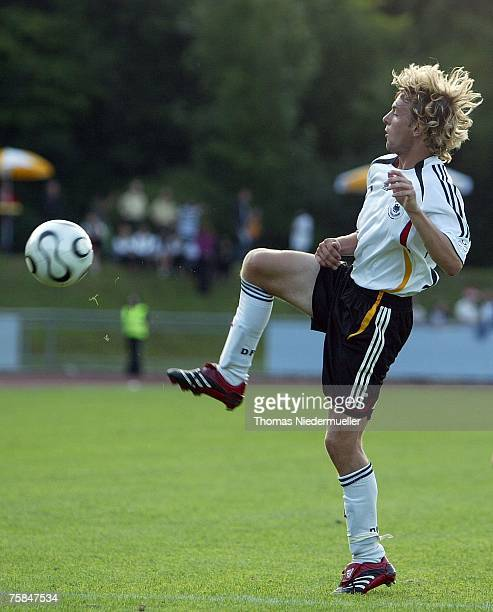 Henning Sauerbier of the German national soccer team in action with the ball during their U 17 match against the national team of Togo at the...