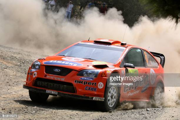 Henning Solberg and Cato Menkerud of Norway drive their Ford Focus RS WRC 07 A/8 during Stage 2 of the BP Ultimate Acropolis Rally of Greece on May...