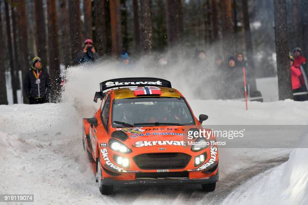 Henning Solberg of Norway and Cato Menkerud of Norway compete in their Ford Fiesta WRC during Day One of the WRC Sweden on February 16 2018 in...
