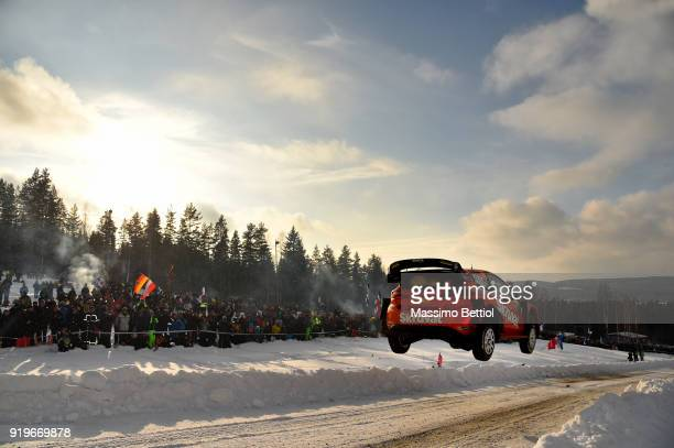 Henning Solberg of Norway and Cato Menkerud of Norway compete in their MSport Ford WRT Ford Fiesta WRC during Day Two of the WRC Sweden on February...