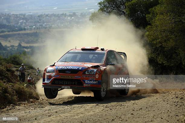 Henning Solberg of Norway and Cato Menkerud of Norway in action in the VK Stobart Ford Focus during Leg 1 of the WRC Acropolis Rally of Greece on...