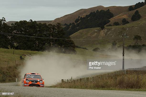 Henning Solberg of Norway and codriver Ilka Minor drive their Ford Focus RS WRC during stage 12 of the WRC Rally of New Zealand on the Te Akau Coast...
