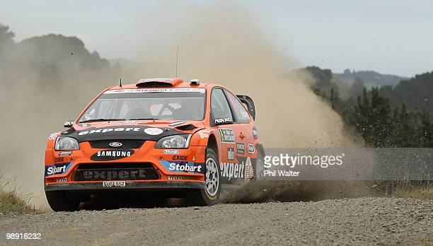 Henning Solberg of Norway and codrivern Ilka Minor drive their Ford Focus RS WRC during stage 10 of the WRC Rally of New Zealand at Glen Murray on...