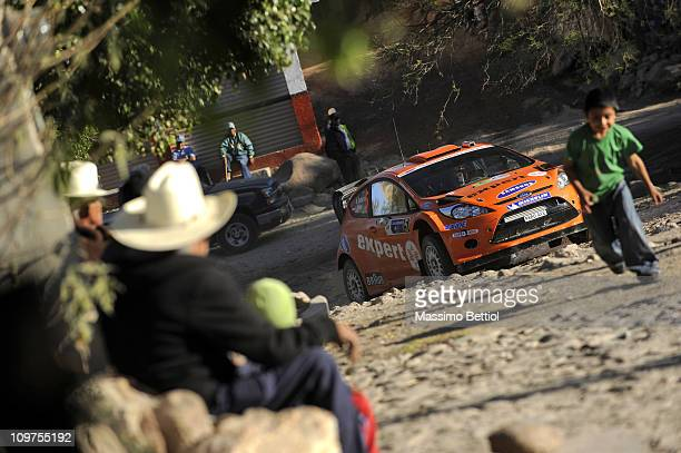 Henning Solberg of Norway and Ilka Minor of Austria compete in their MSport Stobart Ford WRT Ford Fiesta RS WRC during the Shakedown of the WRC Rally...
