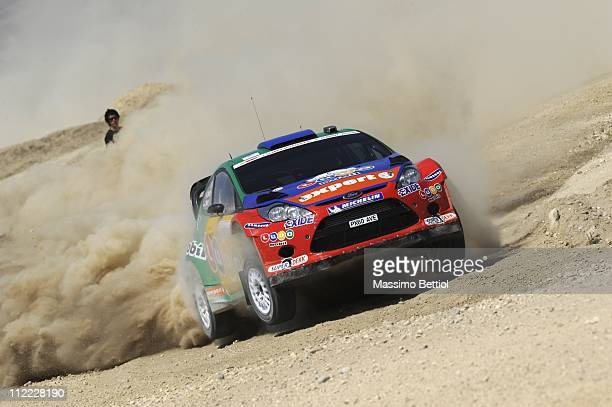 Henning Solberg of Norway and Ilka Minor of Austria compete in their MSport Stobart Ford WRT Ford Fiesta RS WRC during Day 1 of the WRC Rally Jordan...