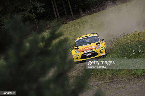 Henning Solberg of Norway and Ilka Minor of Austria compete in their MSport Stobart WRT Ford Fiesta RS WRC during Day1 of the WRC Rally Finland on...