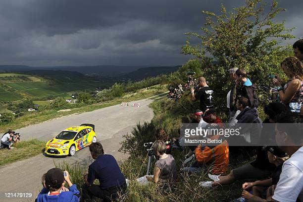 Henning Solberg of Norway and Ilka Minor of Austria compete in their MSport Stobart WRT Ford Fiesta RS WRC during Day1 of the WRC Rally of Germany on...