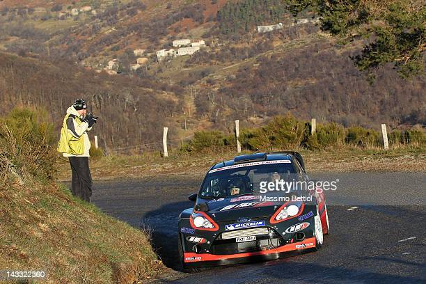 Henning Solberg of Norway and Ilka Minor of Austria compete in their Ford Fiesta RS WRC during Day One of the WRC Rallye Montecarlo on January 18...