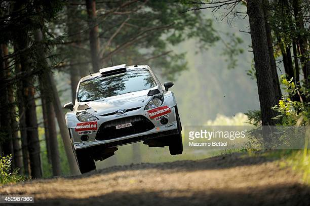 Henning Solberg of Norway and Ilka Minor of Austria compete in their Ford Fiesta RS WRC during the Shakedown of the WRC Finland on July 31 2014 in...