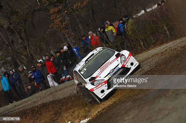 Henning Solberg of Norway and Ilka Minor of Austria compete in their Ford Fiesta RS WRC during Day Two of the WRC Montecarlo on January 23 2015 in...