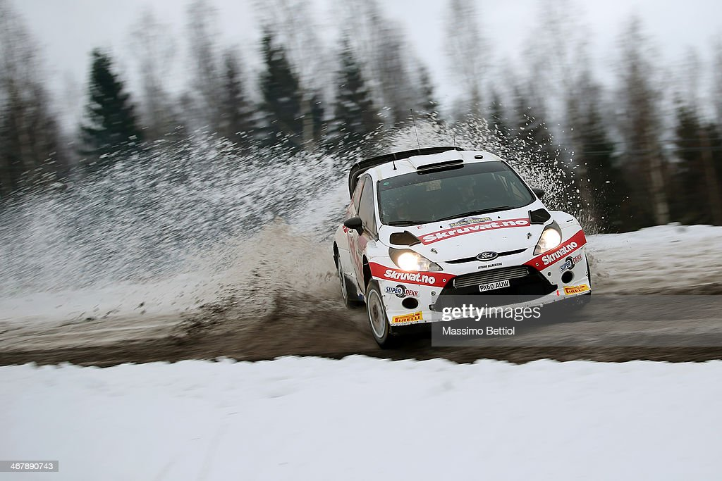 Henning Solberg of Norway and Ilka Minor of Austria compete in their Ford Fiesta RS WRC during Day Three of the WRC Sweden on February 8, 2014 in Karlstad, Sweden.