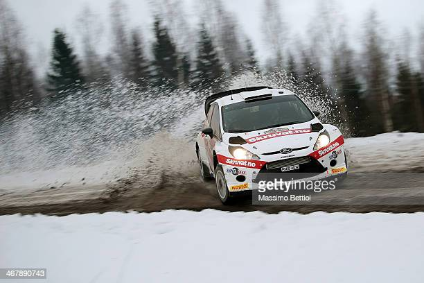 Henning Solberg of Norway and Ilka Minor of Austria compete in their Ford Fiesta RS WRC during Day Three of the WRC Sweden on February 8 2014 in...