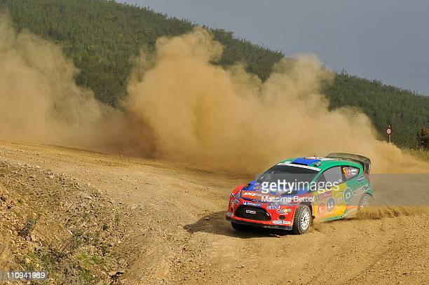 Henning Solberg of Norway and Ilka Minor of Austrian compete in their MSport Stobart WRT Ford Fiesta RS WRC during Leg3 of the WRC Rally Portugal on...