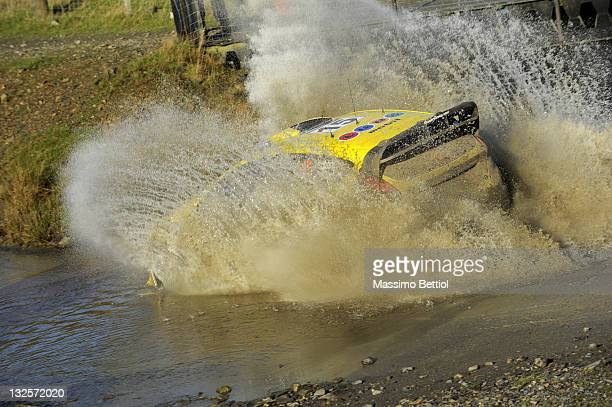 Henning Solberg of Norway and Ilka Minor of Austrian compete in their MSport Stobart WRT Ford Fiesta RS WRC during Day3 of the WRC Wales Rally GB on...