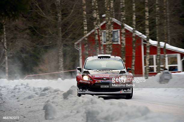 Henning Solberg of Norway and Ilka Minor of Austrian compete in their Adapta Motorsport Ford Fiesta RS WRC during the Shakedown of the WRC Sweden on...