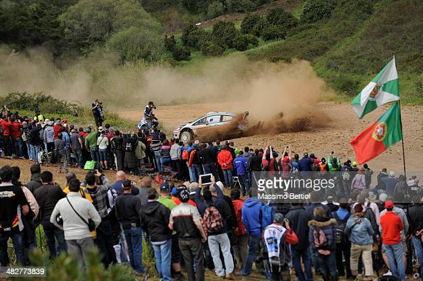 Henning Solberg of Norway and Ilka MInor of Austrian compete in their Ford Fiesta R5 during Day One of the WRC Portugal on April 4 2014 in Faro...